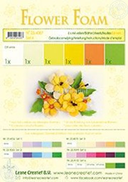 Afbeeldingen van Flower foam set 4 geel