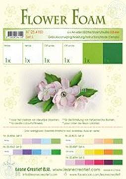 Afbeeldingen van Flower foam set 6 wit/groen
