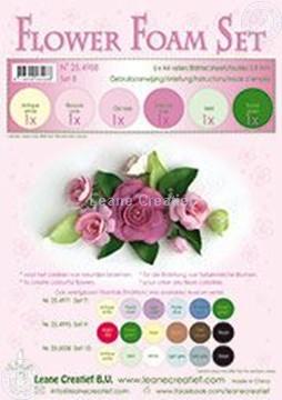 Afbeeldingen van Flower foam set 8 roze tinten