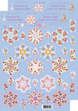Picture of Rosettes decoupage & cut sheets Mylo & Friends® red / blue