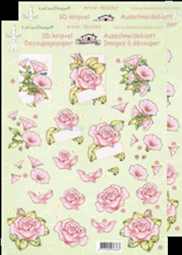 Afbeeldingen van LeCreaDesign® knipvellen rozen roze bloemen