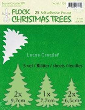 Afbeeldingen van 25 green Flock trees pre-cut & self-adhesive