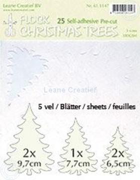 Afbeeldingen van 25 white Flock trees pre-cut & self-adhesive