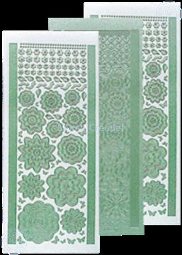 Picture of LeCreaDesign® flower stickers / peel offs pearl green