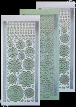 Picture of LeCreaDesign® flower stickers / peel offs green/silver