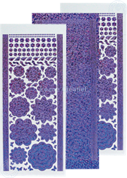Afbeeldingen van LeCreaDesign® Bloem Stickers diamond/purple