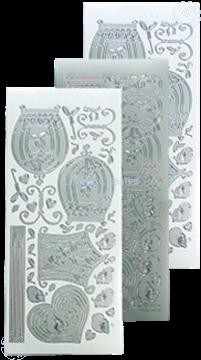 Afbeeldingen van LeCreaDesign® sticker vogelkooitjes silver
