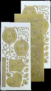 Afbeeldingen van LeCreaDesign® sticker vogelkooitjes gold
