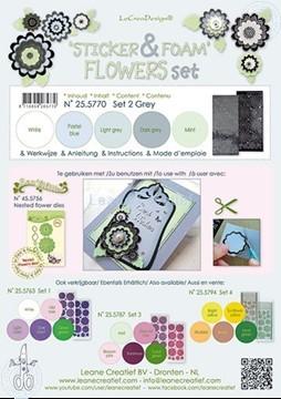 Afbeeldingen van Sticker &  Foam Flowers Set 2 Grijs