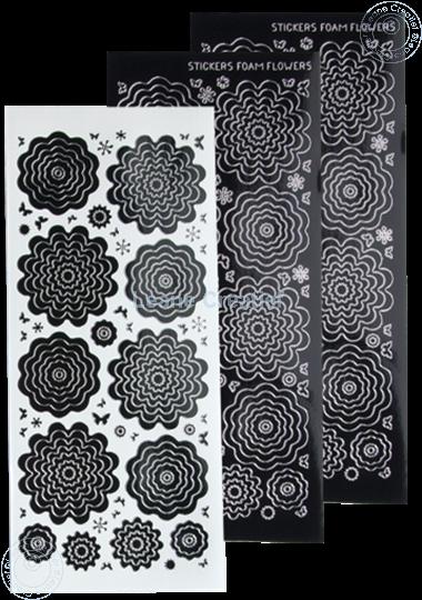 Bild von Nested Flower Sticker black silver