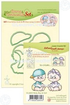 Picture of Lea'bilitie® Clear stamp & Contour die set Baby boy & girl