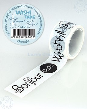"Picture of Washi tape French words 1 ""Bonjour…"" 25mm x5m."
