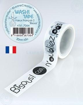 """Afbeeldingen van Washi tape Franse woorden 2. """"Bisous"""", 20mm x 5m."""