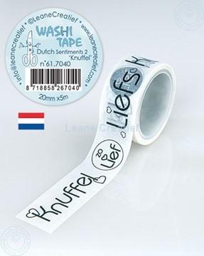 Image de Washi tape Texte Néerlandais 2. Knuffels 20mm x 5m.