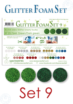 Image de Glitter Foam set 9, 4 feuilles A4 2 verts et 2 vert foncé
