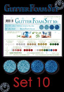 Image de Glitter Foam set 10, 4 feuilles A4 2 bleus et 2 bleu foncé